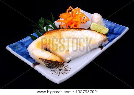 Japanese food style Sablefish steak grilled serve.