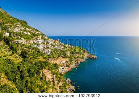 Scenic Picture-postcard View Of Famous Amalfi Coast With Gulf Of Salerno In Beautiful Evening Light,