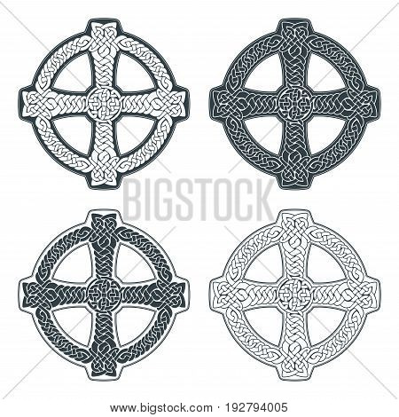 Vector celtic cross. Ethnic ornament. Geometric design. T-shirt print. Vector illustrations set