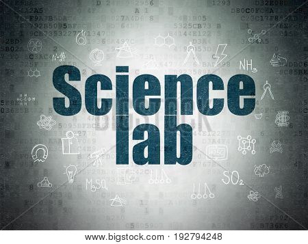 Science concept: Painted blue text Science Lab on Digital Data Paper background with  Hand Drawn Science Icons
