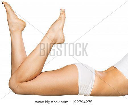 Female legs leg slender white background curve