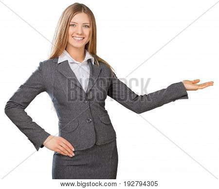 Business young woman businesswoman showing space background beautiful