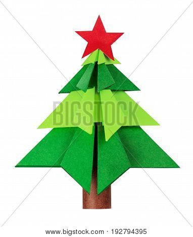 Christmas tree origami christmas tree new year green color