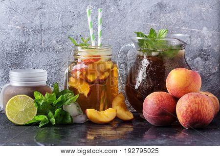 Peach Ice Tea In The Jars