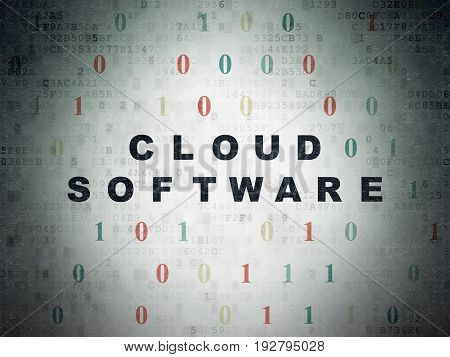 Cloud computing concept: Painted black text Cloud Software on Digital Data Paper background with Binary Code