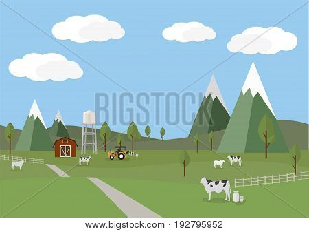 Rural landscape with cows and farm background of flat style vector illustration.