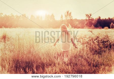 girl with chamomile wreath in camomile field in sunset