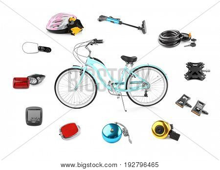 Bicycle with parts and accessories on white background