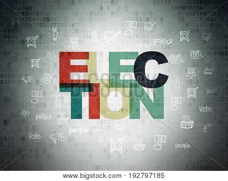 Politics concept: Painted multicolor text Election on Digital Data Paper background with  Hand Drawn Politics Icons