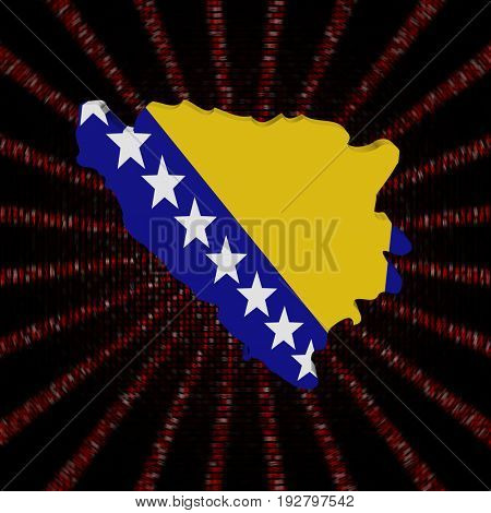 Bosnia map flag on red hex code burst 3d illustration