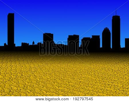 Boston skyline with golden dollar coins foreground 3d illustration
