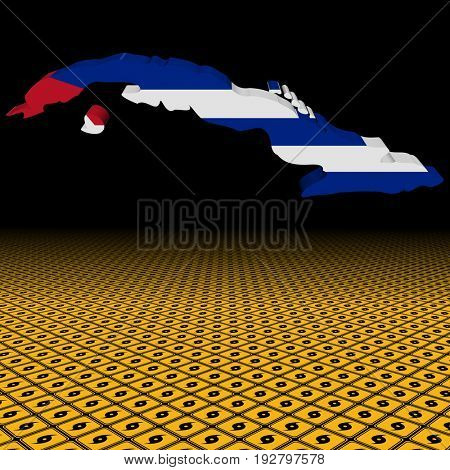 Cuba map flag with hurricane warning sign foreground 3d illustration