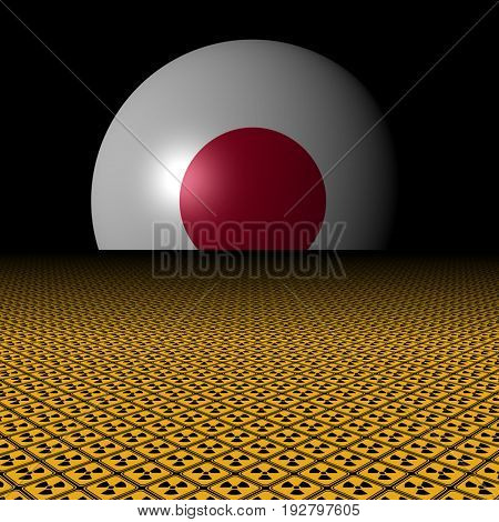 Japanese flag sphere and radioactive warning signs illustration
