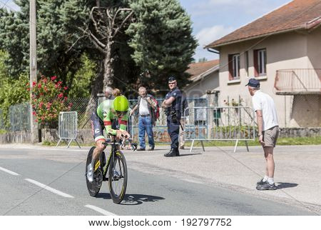 Bourgoin-Jallieu France - 07 May 2017: The Australian cyclist Simon Clarke of Cannondale-Drapac Team riding during the time trial stage 4 of Criterium du Dauphine 2017.
