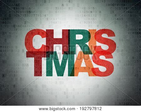 Holiday concept: Painted multicolor text Christmas on Digital Data Paper background