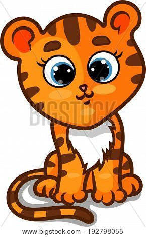 Tiger Cub (Panthera Tigris) Character Against White Background, Cartoon Hand Drawn Vector Illustration EPS 10