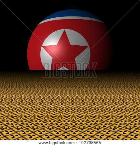 North Korean flag sphere and radioactive warning signs 3d illustration