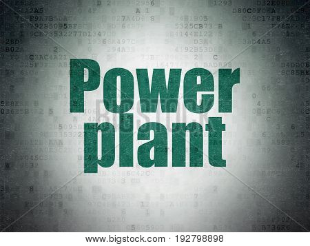 Manufacuring concept: Painted green word Power Plant on Digital Data Paper background