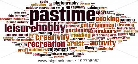 Pastime word cloud concept. Vector illustration on white
