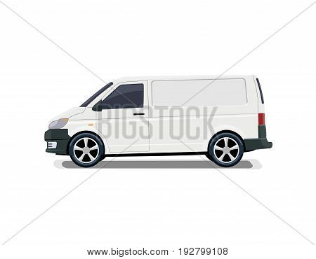 The cargo minivan. Side view. Volumetric drawing without a mesh and a gradient. Isolated. Vector illustration.