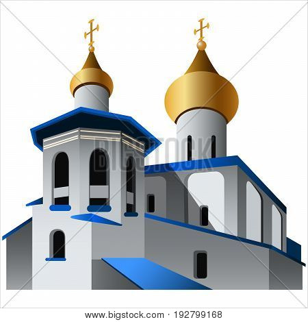 church with golden domes on white background vector illustration