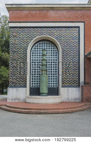Fountain in art deco style period of last century called roaring Twenties very important artistically in Europe and America