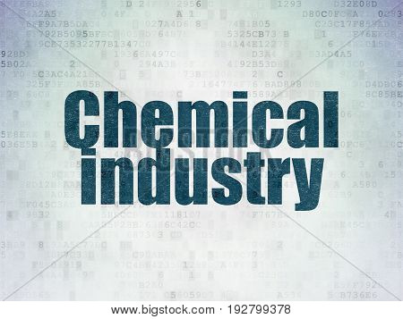 Manufacuring concept: Painted blue word Chemical Industry on Digital Data Paper background