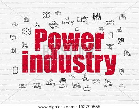 Manufacuring concept: Painted red text Power Industry on White Brick wall background with  Hand Drawn Industry Icons