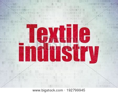 Industry concept: Painted red word Textile Industry on Digital Data Paper background