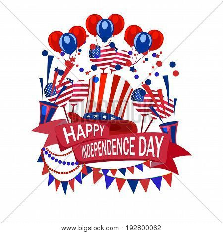 Happy Independence Day of America. Volumetric drawing without a mesh and a gradient. Flag, salute, balloons, crackers. Vector illustration