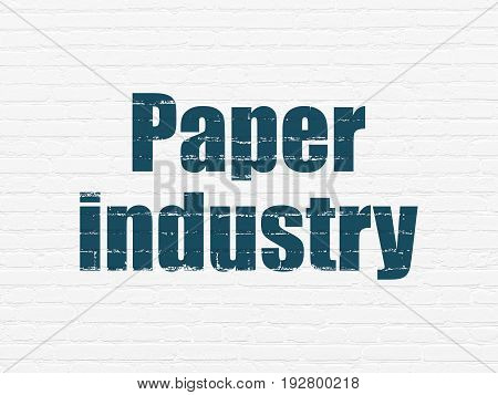 Industry concept: Painted blue text Paper Industry on White Brick wall background