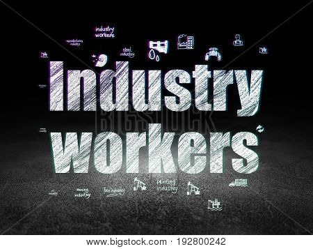 Manufacuring concept: Glowing text Industry Workers,  Hand Drawn Industry Icons in grunge dark room with Dirty Floor, black background