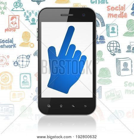 Social media concept: Smartphone with  blue Mouse Cursor icon on display,  Hand Drawn Social Network Icons background, 3D rendering