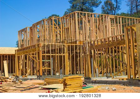 Two Story New Construction Home In Framing Stages