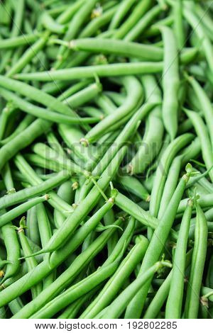 Green french beans organic vegetables with shallow depth of field