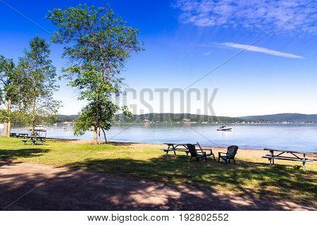 Maskinonge Lake landscape at summer St-Gabriel-de-Brandon town in Quebec province of canada at summer day.