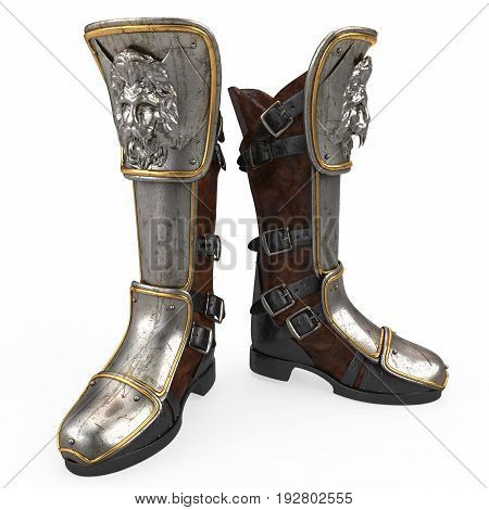 Iron fantasy high boots knight armor isolated . 3d illustration