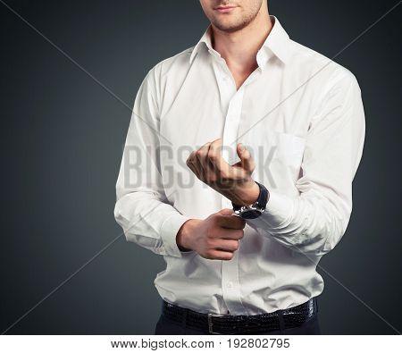 Attractive businessman elegant male man shirt cuff
