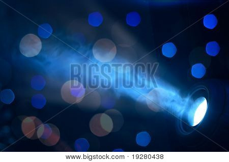 Stage blue lights - prepared for production and shooting