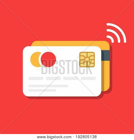Plastic bank or credit card with a wireless payment icon. E-commerce. Vector illustration isolated on color background