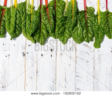 Flat Lay Rainbow Swiss Chard Healthy Diet Recipes Mock Up White  Background