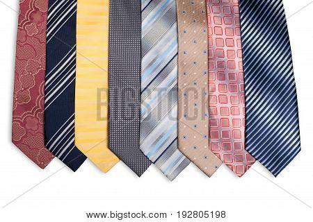 Fashion fashionable ties yellow group white blue