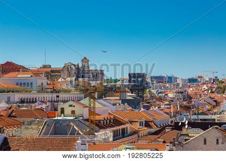 Lisbon, Portugal - May 19, 2017: Aerial View Of The Carmo Convent And Santa Justa Lift
