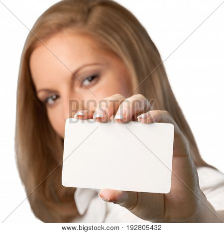 Card woman show showing white background copy