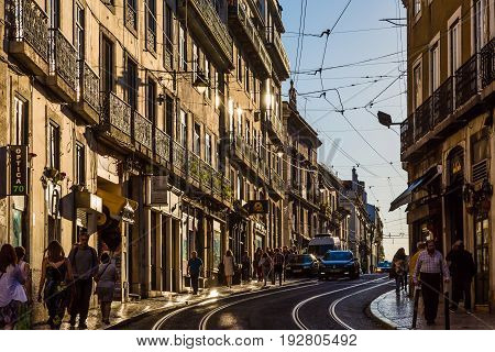 Lisbon, Portugal - May 19, 2017: Views From The Streets In The Historic District Of Lisbon Alfama, P