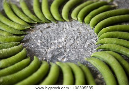 Green Pea Pod, Green Peas. Vegetable Background