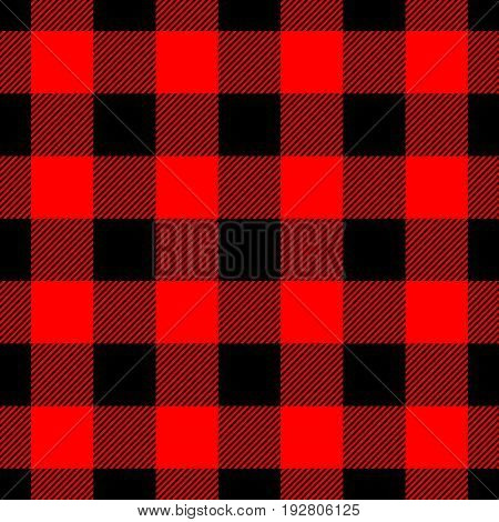 Lumberjack plaid pattern in red and black. Seamless vector pattern. Simple vintage textile design.