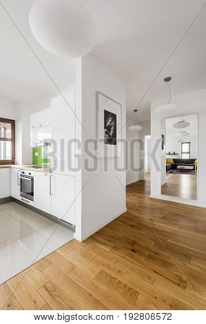 Modern, White Apartment With Kitchen