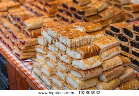 Selling cottage cheese pie and other pastries. Delicious dish prepared with homemade fillo dough