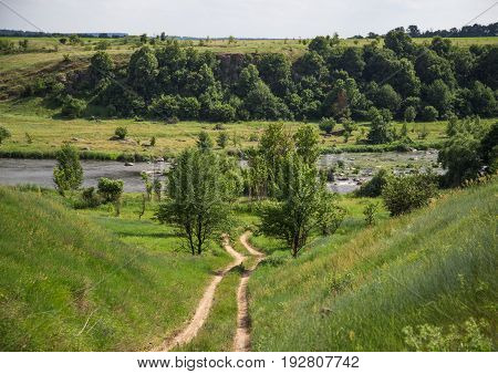 landscape of river and hills the concept of nature and travel